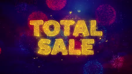 celkový : Total Sale Text on Colorful Firework Explosion Particles. Sale, Discount Price, Off Deals, Offer promotion offer percent discount ads 4K Loop Animation. Dostupné videozáznamy