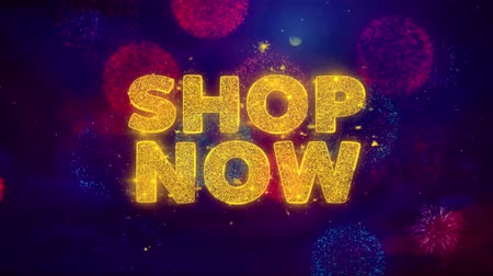 jelenleg : Shop Now Text on Colorful Firework Explosion Particles. Sale, Discount Price, Off Deals, Offer promotion offer percent discount ads 4K Loop Animation.