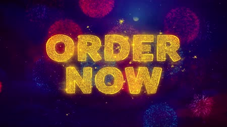 jelenleg : Order Now Text on Colorful Firework Explosion Particles. Sale, Discount Price, Off Deals, Offer promotion offer percent discount ads 4K Loop Animation.