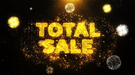 végső : Total Sale Text on Firework Display Explosion Particles. Sale, Discount Price, Off Deals, Offer promotion offer percent discount ads 4K Loop Animation.