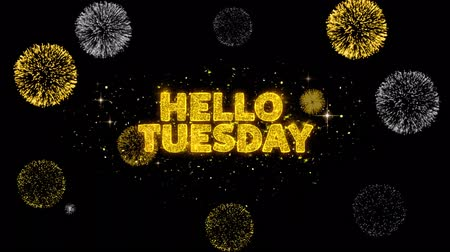 monção : Hello Tuesday Text Reveal on Glitter Golden Particles Firework. Sale, Discount Price, Off Deals, Offer promotion offer percent discount ads 4K Loop Animation.