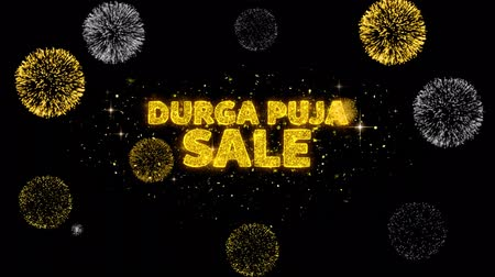 puja : Durga Puja Sale Text Reveal on Glitter Golden Particles Firework. Sale, Discount Price, Off Deals, Offer promotion offer percent discount ads 4K Loop Animation.