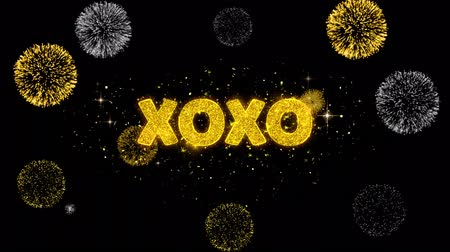 art : XOXO Text Reveal on Glitter Golden Particles Firework. Sale, Discount Price, Off Deals, Offer promotion offer percent discount ads 4K Loop Animation.