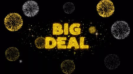 cupom : Big Deal Text Reveal on Glitter Golden Particles Firework. Sale, Discount Price, Off Deals, Offer promotion offer percent discount ads 4K Loop Animation.