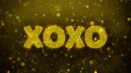 buldogue : XOXO Text Golden Glitter Glowing Lights Shine Particles. Sale, Discount Price, Off Deals, Offer promotion offer percent discount ads 4K Loop Animation. Stock Footage
