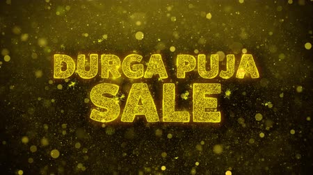 puja : Durga Puja Sale Text Golden Glitter Glowing Lights Shine Particles. Sale, Discount Price, Off Deals, Offer promotion offer percent discount ads 4K Loop Animation. Stock Footage