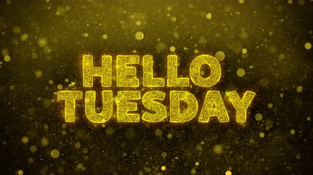 sobota : Hello Tuesday Text Golden Glitter Glowing Lights Shine Particles. Sale, Discount Price, Off Deals, Offer promotion offer percent discount ads 4K Loop Animation.