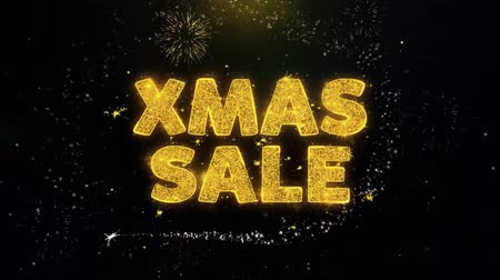 flyer design : XMAS Sale Text auf Gold Glitter Partikeln Spark Exploding Fireworks Display. Sale, Discount Price, Off Deals, Angebot Promotion Angebot Prozent Rabatt Anzeigen 4K Loop Animation. Videos