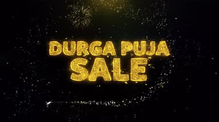 dussehra : Durga Puja Sale Text on Gold Glitter Particles Spark Exploding Fireworks Display. Sale, Discount Price, Off Deals, Offer Promotion Offer Percent Discount ads 4K Loop Animation. Stock Footage