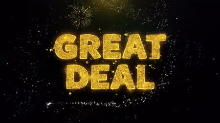 çıkartmalar : Great Deal Text on Gold Glitter Particles Spark Exploding Fireworks Display. Sale, Discount Price, Off Deals, Offer Promotion Offer Percent Discount ads 4K Loop Animation. Stok Video