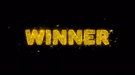 メダル : Winner Text Sparks Glitter Particles on Black Background. Sale, Discount Price, Off Deals, Offer promotion offer percent discount ads 4K Loop Animation.
