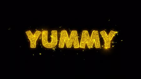 редактируемые : Yummy Text Sparks Glitter Particles on Black Background. Sale, Discount Price, Off Deals, Offer promotion offer percent discount ads 4K Loop Animation. Стоковые видеозаписи