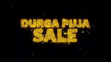 dussehra : Durga Puja Sale Text Sparks Glitter Particles on Black Background. Sale, Discount Price, Off Deals, Offer promotion offer percent discount ads 4K Loop Animation. Stock Footage