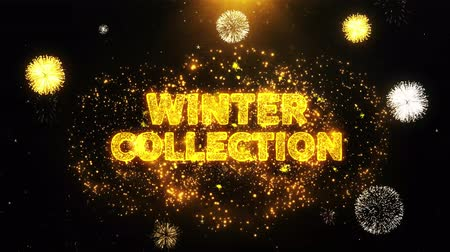 рекламный : Winter Collection Text on Firework Display Explosion Particles. Sale, Discount Price, Off Deals, Offer promotion offer percent discount ads 4K Loop Animation. Стоковые видеозаписи