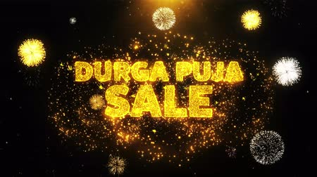 dussehra : Durga Puja Sale Text on Firework Display Explosion Particles. Sale, Discount Price, Off Deals, Offer promotion offer percent discount ads 4K Loop Animation.
