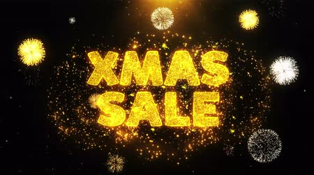 рекламный : XMAS Sale Text on Firework Display Explosion Particles. Sale, Discount Price, Off Deals, Offer promotion offer percent discount ads 4K Loop Animation.