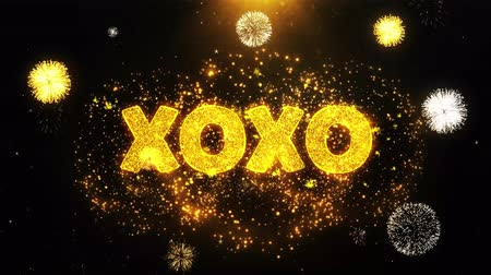 クリアランス : XOXO Text on Firework Display Explosion Particles. Sale, Discount Price, Off Deals, Offer promotion offer percent discount ads 4K Loop Animation.