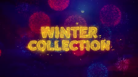 クリアランス : Winter Collection Text on Colorful Firework Explosion Particles. Sale, Discount Price, Off Deals, Offer promotion offer percent discount ads 4K Loop Animation.