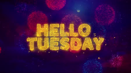 čtvrtek : Hello Tuesday Text on Colorful Firework Explosion Particles. Sale, Discount Price, Off Deals, Offer promotion offer percent discount ads 4K Loop Animation.