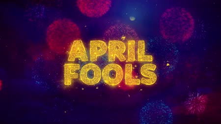 fifty : April fools Text on Colorful Firework Explosion Particles. Sale, Discount Price, Off Deals, Offer promotion offer percent discount ads 4K Loop Animation. Stock Footage
