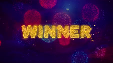 giveaway : Winner Text on Colorful Firework Explosion Particles. Sale, Discount Price, Off Deals, Offer promotion offer percent discount ads 4K Loop Animation.