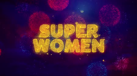 クリアランス : Super Women Text on Colorful Firework Explosion Particles. Sale, Discount Price, Off Deals, Offer promotion offer percent discount ads 4K Loop Animation.