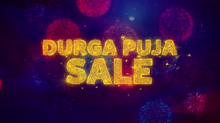 puja : Durga Puja Sale Text on Colorful Firework Explosion Particles. Sale, Discount Price, Off Deals, Offer promotion offer percent discount ads 4K Loop Animation.