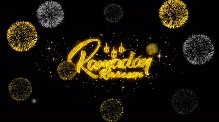 Аллах : Ramadan Kareem mubarak Text Wish Reveal on Glitter Golden Particles Firework. Greeting card, Wishes, Celebration, Party, Invitation, Gift, Event, Message, Holiday, Festival 4K Loop Animation. Стоковые видеозаписи