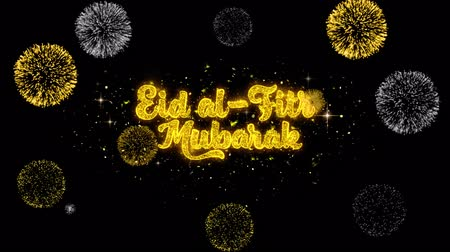 kaligrafia : Eid al-Fitr mubarak Text Wish Reveal on Glitter Golden Particles Firework. Greeting card, Wishes, Celebration, Party, Invitation, Gift, Event, Message, Holiday, Festival 4K Loop Animation.
