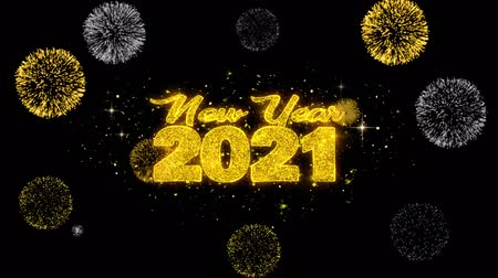 ano novo chinês : New Year 2021 Text Wish Reveal on Glitter Golden Particles Firework. Greeting card, Wishes, Celebration, Party, Invitation, Gift, Event, Message, Holiday, Festival 4K Loop Animation. Vídeos