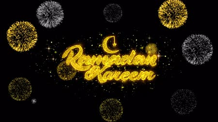 hónapokban : Ramadan Kareem Text Wish Reveal on Glitter Golden Particles Firework. Greeting card, Wishes, Celebration, Party, Invitation, Gift, Event, Message, Holiday, Festival 4K Loop Animation. Stock mozgókép