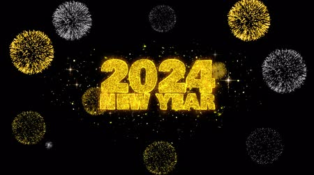 ano novo chinês : 2024 New Year Text Wish Reveal on Glitter Golden Particles Firework. Greeting card, Wishes, Celebration, Party, Invitation, Gift, Event, Message, Holiday, Festival 4K Loop Animation.