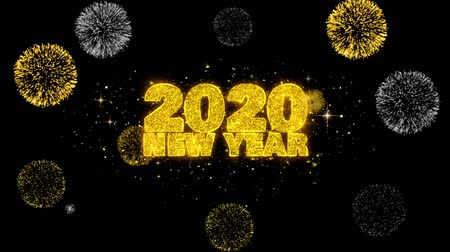 ano novo chinês : 2020 New Year Text Wish Reveal on Glitter Golden Particles Firework. Greeting card, Wishes, Celebration, Party, Invitation, Gift, Event, Message, Holiday, Festival 4K Loop Animation. Vídeos