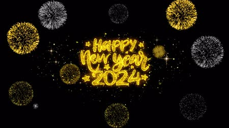 ano novo chinês : Happy New Year 2024 Text Wish Reveal on Glitter Golden Particles Firework. Greeting card, Wishes, Celebration, Party, Invitation, Gift, Event, Message, Holiday, Festival 4K Loop Animation.