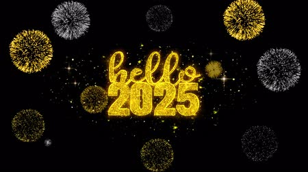 anos : Hello 2025 New Year Text Wish Reveal on Glitter Golden Particles Firework. Greeting card, Wishes, Celebration, Party, Invitation, Gift, Event, Message, Holiday, Festival 4K Loop Animation. Archivo de Video