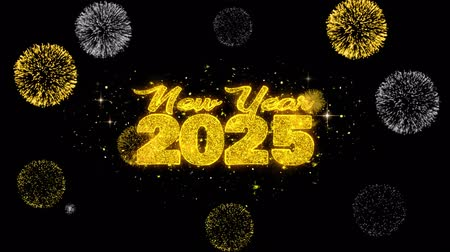 si přeje : New Year 2025 Text Wish Reveal on Glitter Golden Particles Firework. Greeting card, Wishes, Celebration, Party, Invitation, Gift, Event, Message, Holiday, Festival 4K Loop Animation.