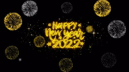 cny : Happy New Year 2022 Text Wish Reveal on Glitter Golden Particles Firework. Greeting card, Wishes, Celebration, Party, Invitation, Gift, Event, Message, Holiday, Festival 4K Loop Animation.