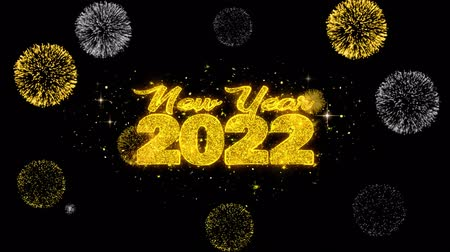 dévoiler : New Year 2022 Text Wish Reveal on Glitter Golden Particles Firework. Greeting card, Wishes, Celebration, Party, Invitation, Gift, Event, Message, Holiday, Festival 4K Loop Animation.
