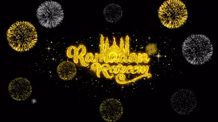 calligrafia araba : Ramadan Kareem Text Wish Reveal su glitter Golden Particles Firework. Cartolina d'auguri, Auguri, Celebrazione, Festa, Invito, Regalo, Evento, Messaggio, Vacanza, Festival 4K Loop Animation.