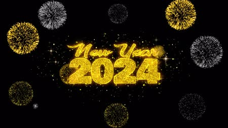 ano novo chinês : New Year 2024 Text Wish Reveal on Glitter Golden Particles Firework. Greeting card, Wishes, Celebration, Party, Invitation, Gift, Event, Message, Holiday, Festival 4K Loop Animation. Vídeos