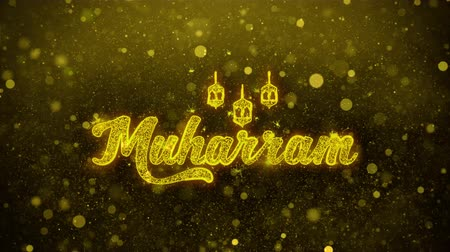 muslim leader : Muharram wish Text Golden Glitter Glowing Lights Shine Particles. Greeting card, Wishes, Celebration, Party, Invitation, Gift, Event, Message, Holiday, Festival 4K Loop Animation. Stock Footage
