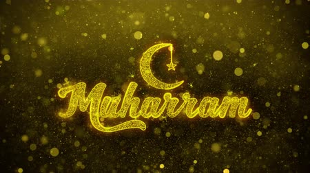 calligrafia araba : Muharram Wish Text Golden Glitter Glowing Lights Shine Particles. Cartolina d'auguri, auguri, celebrazione, festa, invito, regalo, evento, messaggio, vacanza, festival 4K Loop Animation. Filmati Stock