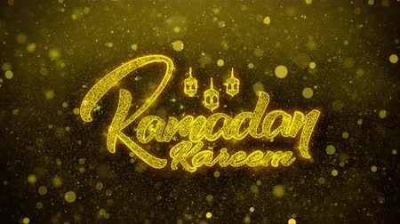 hónapokban : Ramadan Kareem wish Text Golden Glitter Glowing Lights Shine Particles. Greeting card, Wishes, Celebration, Party, Invitation, Gift, Event, Message, Holiday, Festival 4K Loop Animation. Stock mozgókép