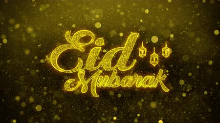 iftar : Eid Mubarak wish Text Golden Glitter Glowing Lights Shine Particles. Greeting card, Wishes, Celebration, Party, Invitation, Gift, Event, Message, Holiday, Festival 4K Loop Animation.