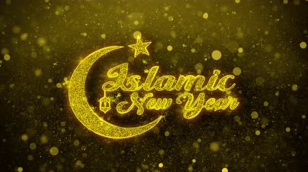 mángorlógép : Islamic New Year wish Text Golden Glitter Glowing Lights Shine Particles. Greeting card, Wishes, Celebration, Party, Invitation, Gift, Event, Message, Holiday, Festival 4K Loop Animation.