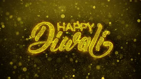 desejando : Happy Diwali wish Text Golden Glitter Glowing Lights Shine Particles. Greeting card, Wishes, Celebration, Party, Invitation, Gift, Event, Message, Holiday, Festival 4K Loop Animation.