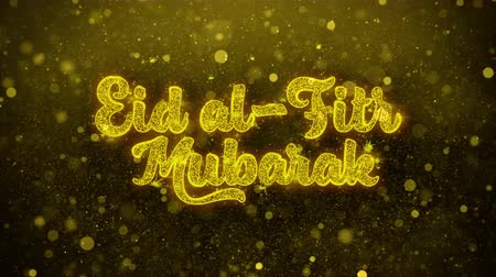пост : Eid al-Fitr mubarak wish Text Golden Glitter Glowing Lights Shine Particles. Greeting card, Wishes, Celebration, Party, Invitation, Gift, Event, Message, Holiday, Festival 4K Loop Animation. Стоковые видеозаписи