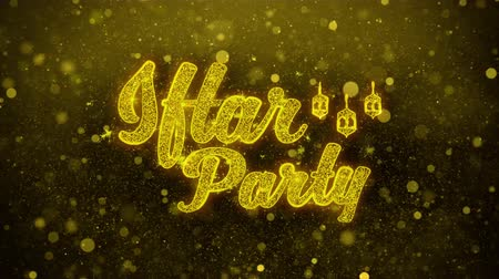 Аллах : Iftar Party wish Text Golden Glitter Glowing Lights Shine Particles. Greeting card, Wishes, Celebration, Party, Invitation, Gift, Event, Message, Holiday, Festival 4K Loop Animation.
