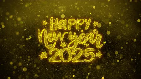 ano novo chinês : Happy New Year 2025 wish Text Golden Glitter Glowing Lights Shine Particles. Greeting card, Wishes, Celebration, Party, Invitation, Gift, Event, Message, Holiday, Festival 4K Loop Animation.