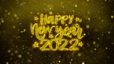 ano novo chinês : Happy New Year 2022 wish Text Golden Glitter Glowing Lights Shine Particles. Greeting card, Wishes, Celebration, Party, Invitation, Gift, Event, Message, Holiday, Festival 4K Loop Animation. Vídeos